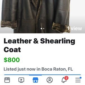 Andrew Marc Mens Leather & Shearling Coat
